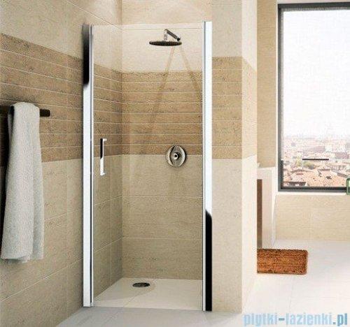 Novellini Drzwi do wnęki uchylne GIADA 1B 87 cm prawe szkło przejrzyste profil srebrny GIADN1B87D-1B