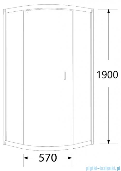 Sea Horse Stylio kabina natryskowa półokrągła jednoskrzydłowa 80x80x190 cm przejrzyste BK501RT+