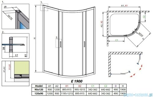 Radaway Premium Plus E Kabina prysznicowa 120x90 szkło grafitowe 30493-01-05N