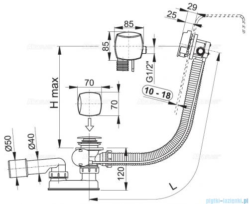 Alcaplast  syfon wannowy z funkcją napełniania przez przelew do wanien grubościennych, chrom A565KM3-100