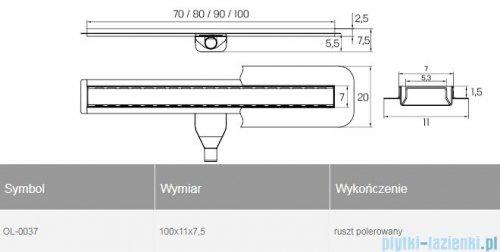 New Trendy Vimo odpływ liniowy z rusztem polerowanym 100x11x7,5 cm OL-0037