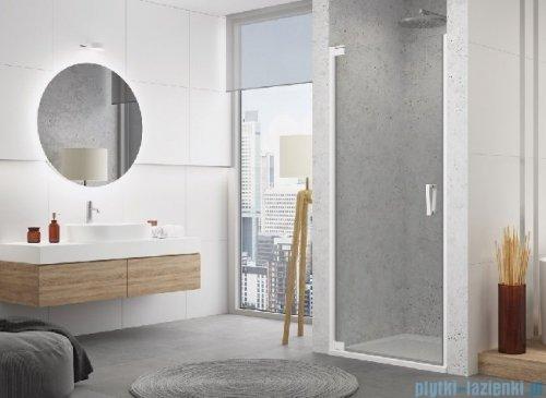 SanSwiss Cadura White Line drzwi wahadłowe 70cm jednoczęściowe lewe z profilem przyściennym biały mat CA1CG0700907