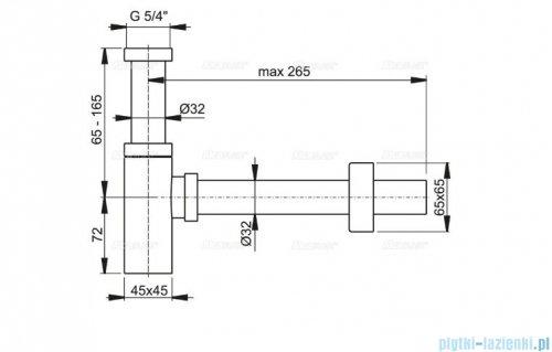Alcaplast półsyfon umywalkowy DN32 DESIGN metalowy, kwadratowy A401