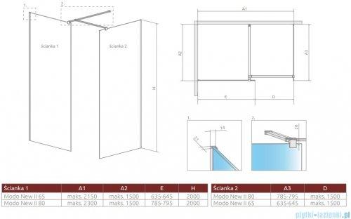 Radaway Modo New III kabina Walk-in 65x80x200 szkło przejrzyste rysunek techniczny