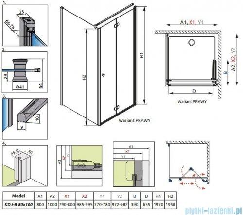 Kabina prysznicowa Radaway Eos KDJ-B 80x100 prawa szkło przejrzyste rysunek techniczny