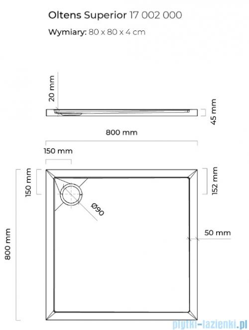 Oltens Superior brodzik kwadratowy 80x80 cm 17002000