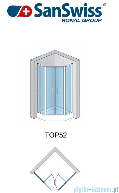 SanSwiss Top-Line Pięciokątna kabina prysznicowa TOP52 z drzwiami otwieranymi 100x100cm Master Carre/połysk TOP5270805030