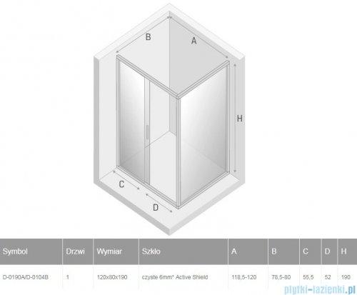 New Trendy New Varia kabina prostokątna 120x80x190 cm przejrzyste D-0190A/D-0104B