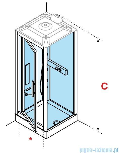 Novellini Glax 3 GF90 kabina z hydromasażem 90x90 chrom GL3GF99T1-1K