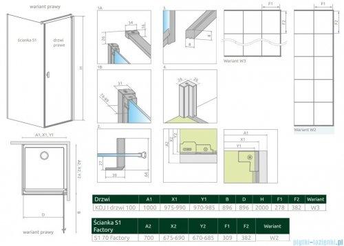 Radaway Nes Black Kdj I Factory kabina 100x70cm prawa rysunek techniczny