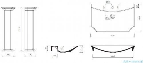 Marmorin La Donna S umywalka przyścienna z postumentem 70x46 cm biały połysk PU0480107000001003+PP04803020000003