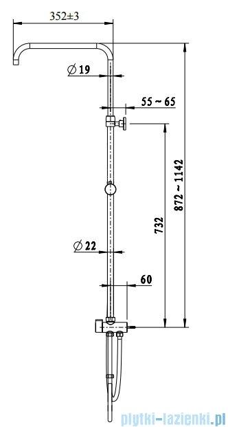 Omnires UNI uniwersalny system prysznicowy z przełącznikiem mosiężnym chrom UN10042CR