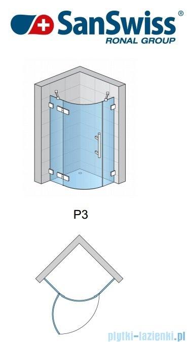 SanSwiss Pur PU4 Kabina półokrągła 75-120cm profil chrom szkło przezroczyste PU455SM11007