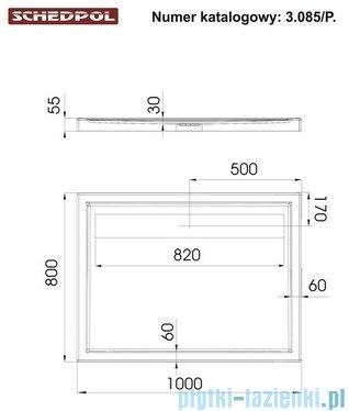 Schedpol Camparo Brodzik prostokątny z klapką odpływu 100x80x6,5cm 3.085/P