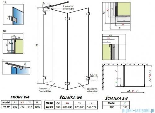Radaway Euphoria Walk-in IV kabina 80x90cm szkło przejrzyste 383140-01-01/383151-01-01/383160-01-01