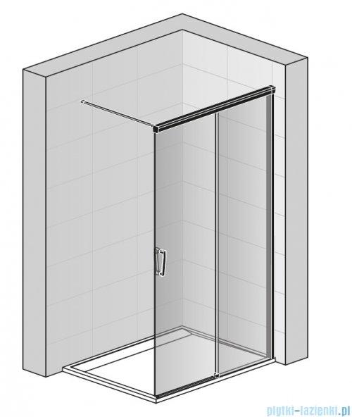 SanSwiss Cadura Black Line kabina Walk in 100cm prawa ze ścianką przesuwną profile czarny mat CAW2D1000607