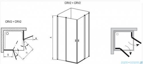 Ravak Chrome Kabina prysznicowa narożna, jedna połowa CRV2-120 satyna+transparent 1QVG0U00Z1