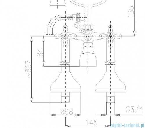 KFA RETRO bateria wannowa CHROM   375-140-00