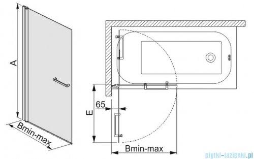 Sanplast parawan nawannowy przyścienny szkło przejrzyste  KW/PRIII-80 600-073-1030-01-401