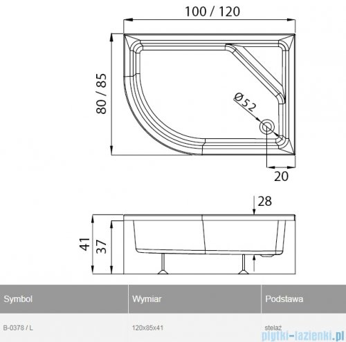New Trendy New Maxima brodzik asymetryczny 120x85x41cm lewy B-0378/L