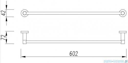 Omnires Modern Project wieszak na ręcznik 60 cm złoto szczotkowane MP60216GLB