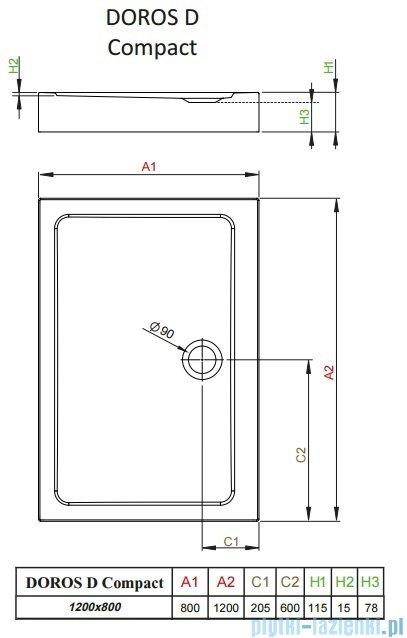 Radaway Doros D Compact brodzik prostokątny 120x80x11,5cm SDRD1280-05