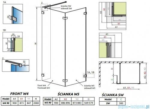 Radaway Euphoria Walk-in IV kabina 90x90cm szkło przejrzyste rysunek techniczny