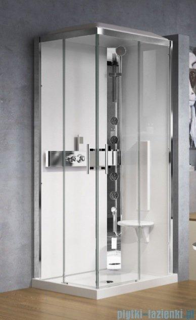 Novellini Glax 3 kabina prysznicowa masażowo-parowa 100x70 prawa srebrny GL3A107DT1N-1B