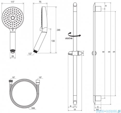 Ravak Zestaw prysznicowy wąż, 3-funkcyjna słuchawka, drążek 70cm X07P177