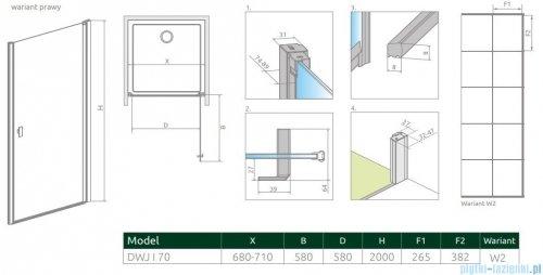 Radaway Nes Black Dwj I Factory Drzwi wnękowe 70cm prawe rysunek techniczny