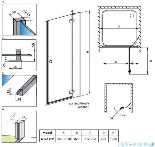 Radaway Almatea DWJ Gold drzwi wnękowe 110 prawe szkło intimato 31312-09-12N