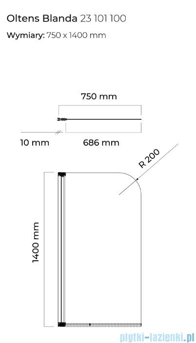 Oltens Blanda parawan nawannowy 75x140cm 23101100