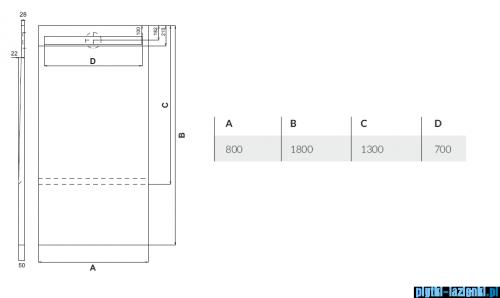 Schedpol brodzik posadzkowy podpłytkowy ruszt Steel 130+50x80x5cm 10.033/OLSL