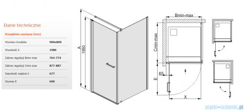 Sanplast kabina narożna prostokątna KNDJ/PRIII-90x80 90x80x198 cm przejrzyste 600-073-0140-38-401