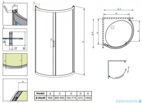 Radaway Premium Plus B Kabina półokrągła z drzwiami jednoczęściowymi 90x90 szkło fabric 30473-01-06N