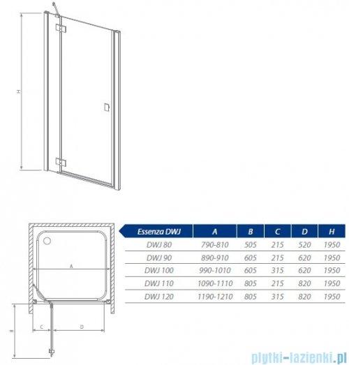 Radaway Essenza DWJ Drzwi wnękowe 90 prawe szkło przejrzyste 32702-01-01NR