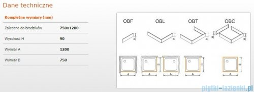 Sanplast Obudowa brodzika OBL 75x120x9 cm 625-400-1250-01-000