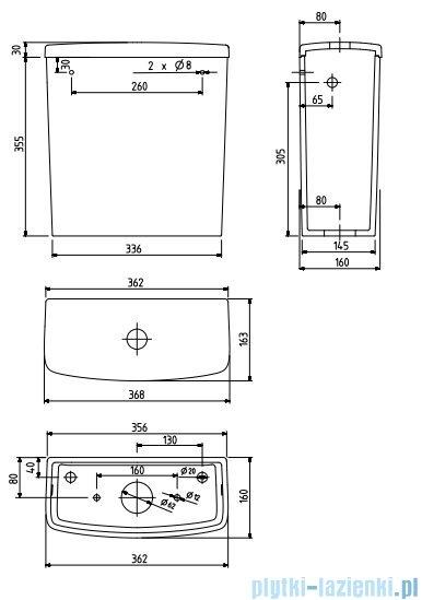 Koło Nova Pro Spłuczka prostokątna z armaturą 6/3l M34011