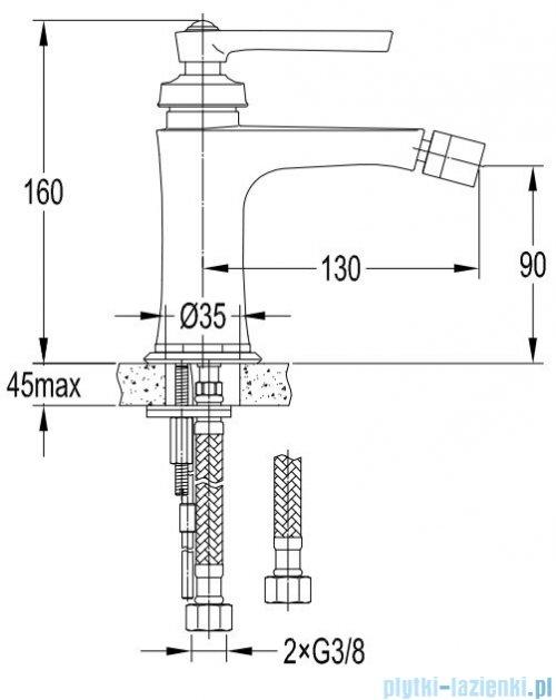 Omnires Armance bateria bidetowa miedź antyczna AM5221ORB