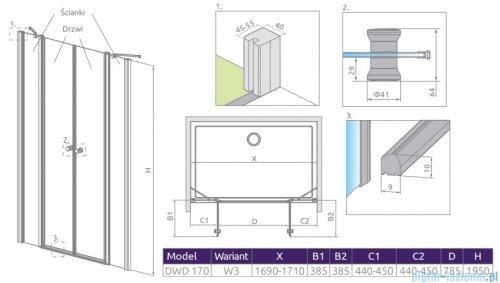 Radaway Eos II Dwd drzwi prysznicowe 170x195 W3 szkło przejrzyste 3799830-01-01/3799870-01-01