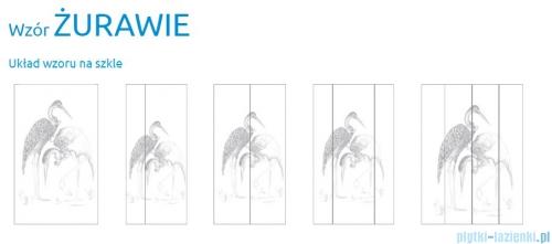 Grawer na szkle dla kabin Radaway wzór Żurawie