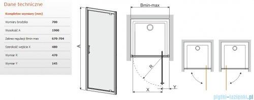 Sanplast Tx drzwi przesuwne DJ/TX5b 70x190 cm przejrzyste 600-271-1020-38-401