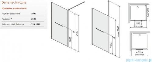 Sanplast Altus PI/ALTIIa kabina walk-in 100x212 cm przejrzyste 600-121-2541-42-401