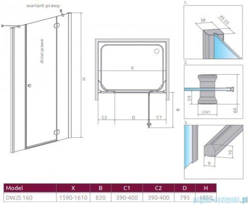 Radaway Torrenta Dwjs drzwi wnękowe 160 prawe szkło przejrzyste 320812-01-01R/320343-01-01