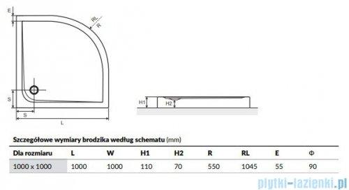 Excellent Sense Brodzik 100x100 półokrągły kompaktowy biały
