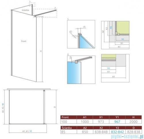 Radaway Modo New IV kabina Walk-in 100x85 szkło przejrzyste 389604-01-01/389085-01-01