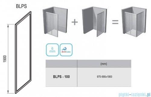 Ravak Blix BLPS ścianka boczna stała 100cm aluminium transparent Anticalc 9BHA0C00Z1