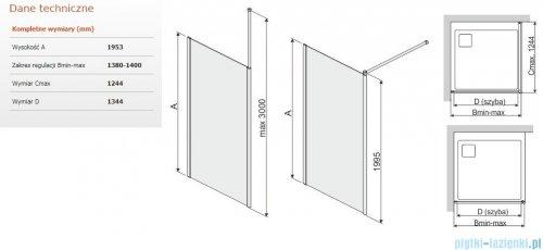 Sanplast Prestige III P/PRIII kabina walk-in 140x195 cm przejrzyste 600-073-1480-38-401