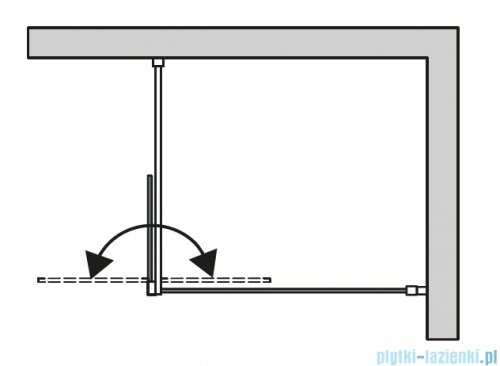 SanSwiss Cadura Black Line kabina Walk in 100cm prawa ze ścianką ruchomą profile czarny mat CADUOD1000607