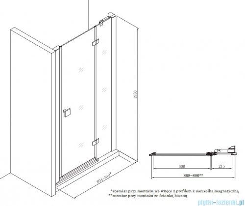 Roca Metropolis drzwi prysznicowe 90cm szkło przejrzyste AMP3409012M